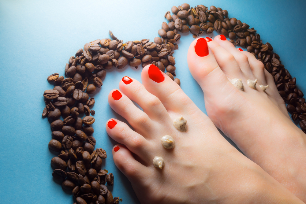 caffeine scrubs to soothe tired feet